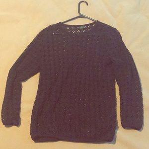 Topshop Crochet long sleeve blouse